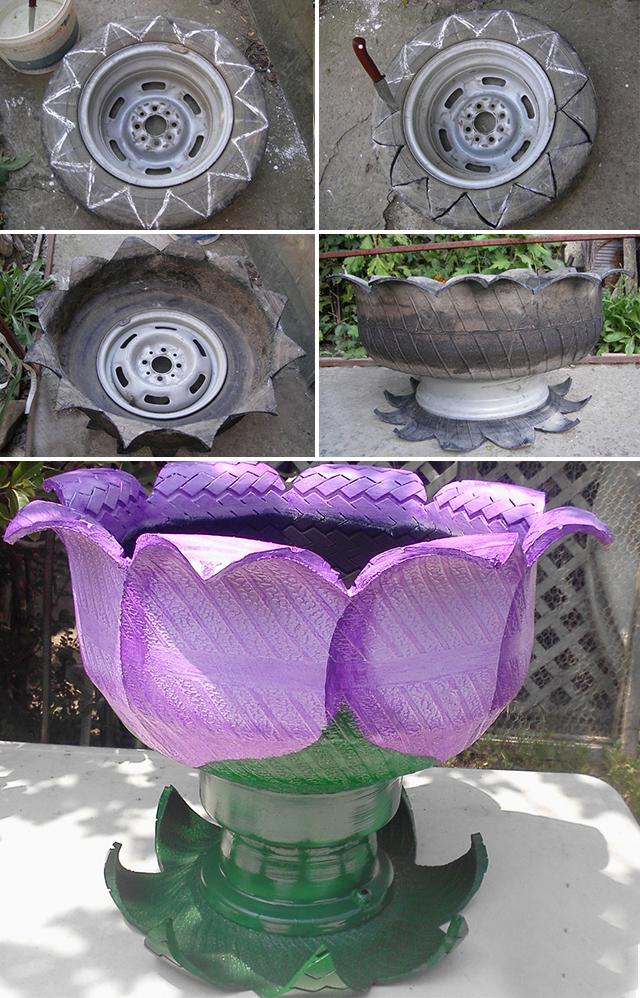 цветники из шин и покрышек фото самых известных