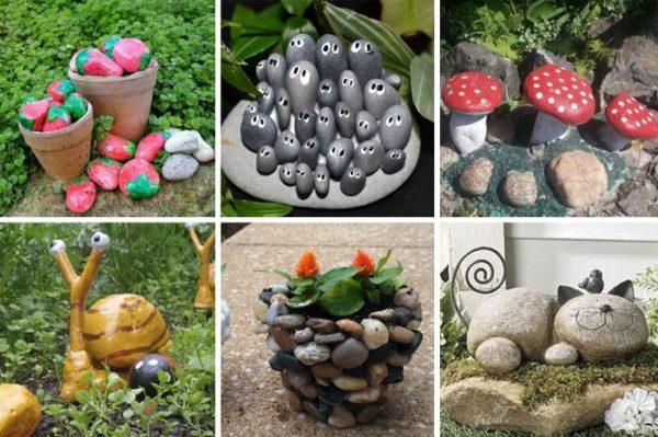 Садовые фигурки из гальки
