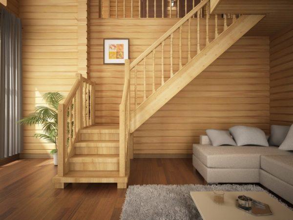 лестница из дерева на даче