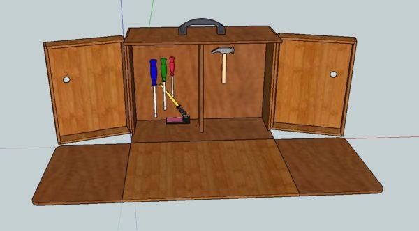 схема ящика с ручкой